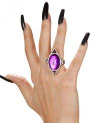 Bague gothique avec pierre violette