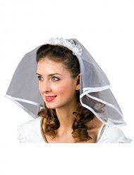 Voile de mariée avec roses blanches