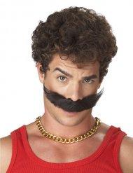 Moustache adhésive marron adulte