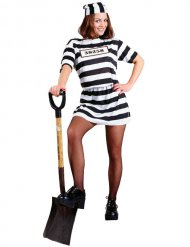 Déguisement prisonnière sexy noir et blanc femme