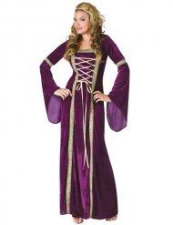 Déguisement princesse médiévale or et violet femme