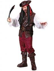 Déguisement pirate noir et rouge homme