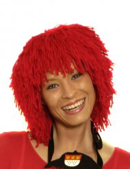 Perruque clown en laine rouge adulte