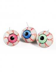 3 Bougies oeil multicolore 3 cm Halloween