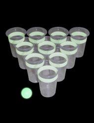 Jeu bière-pong verres et balle fluorescents