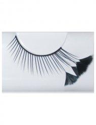 Faux-cils plumes noirs