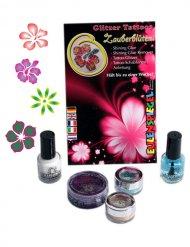 Kit de tatouages de fleurs magiques pailletées