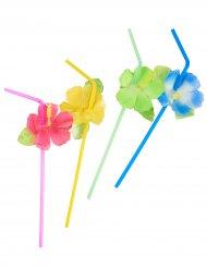 6 Pailles fleurs Hawaï