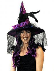 Chapeau satin violet avec voile et plumes adulte Halloween