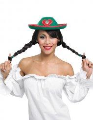 Chapeau tyrolien rouge et vert pour femme