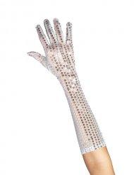Longs gants à paillettes argenté femme