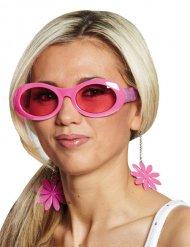 Lunettes à fleurs disco roses