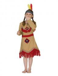 Déguisement indienne fille beige et rouge