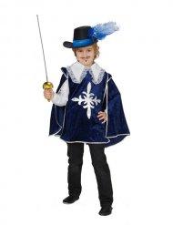 Déguisement mousquetaire bleu-blanc-argent enfant