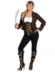 Déguisement pirate marron et noir femme