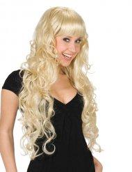 Perruque cheveux longs avec frange femme blonde