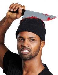 Bonnet avec couteau sanglant Halloween