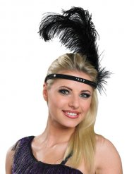 Bandeau charleston noir avec grande plume adulte
