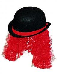 Chapeau melon de clown avec cheveux noir et rouge.