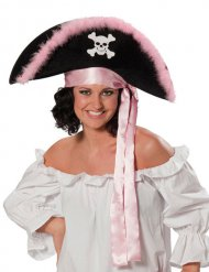 Chapeau pirate noir et rose femme