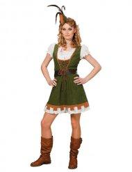 Déguisement Moyen-Age Archer pour femme vert-blanc-brun