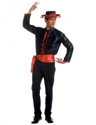 Déguisement flamenco chemise ceinture noir-rouge