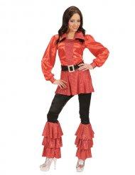 Tunique femme disco années 70 rouge
