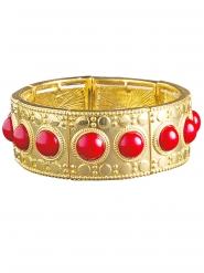 Bracelet doré avec pierres rouges femme