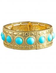 Bracelet doré avec pierres bleues femme