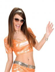 T-shirt orange disco femme