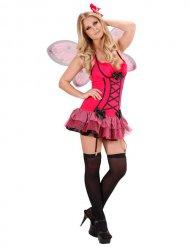 Déguisement papillon sexy rose et noir femme
