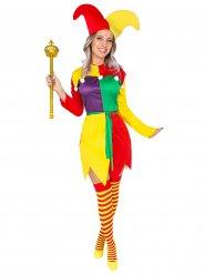 Déguisement bouffon arlequin femme multicolore