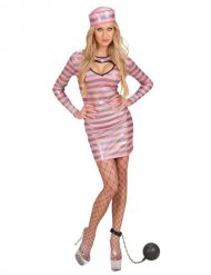 Convict Glitter Ladies Costume white-silver