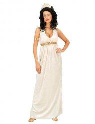 Déguisement déesse antique romaine blanc or femme