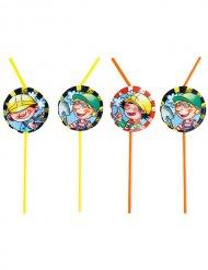 8 pailles petits bricoleurs multicolore