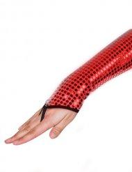 Gants à paillettes sans doigts rouge
