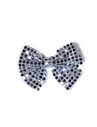 Noeud papillon à paillettes argenté