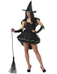 Déguisement sorcière sexy noir-vert femme