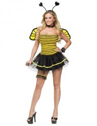 Déguisement abeille noir et jaune sexy femme