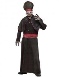 Déguisement prêtre zombie squelette noir et rouge adulte