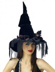 Chapeau sorcière noir avec voile Halloween