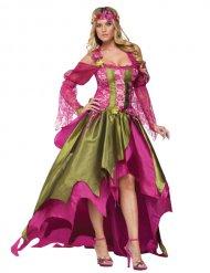 Déguisement fée Moyen-Age femme vert-rose