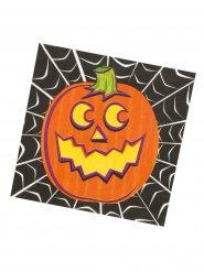 16 serviettes en papier pour Halloween orange-noir 33x33cm