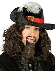 Chapeau mousquetaire velours noir avec plume adulte
