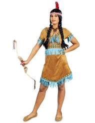 Déguisement indienne à franges turquoise femme