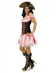Déguisement pirate rose marron femme