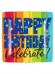 8 Assiettes carrées Happy Birthday 26 cm