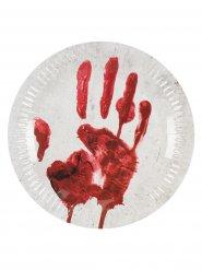 10 assiettes main ensanglantée carton 23 cm
