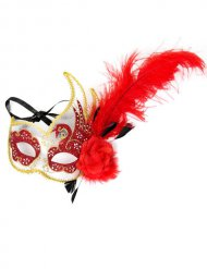 Venetian Eye Mask with Feathers red-gold