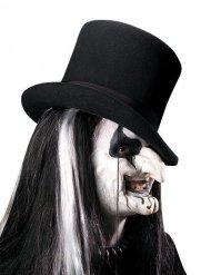 Prothèse visage Arlequin maléfique en latex noir et blanc